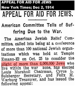 1914 NY Times Article About the Plight of six million Jews
