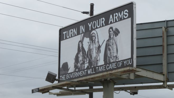 billboard depicting right to bear arms