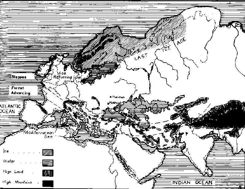 Map of Europe during the last Ice Age