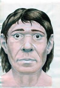 Imagined drawing of a Neanderthal based on skeletal remains and research.