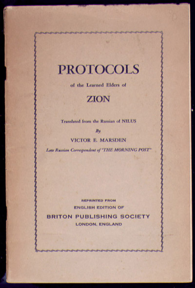 Protocols of Zion Book