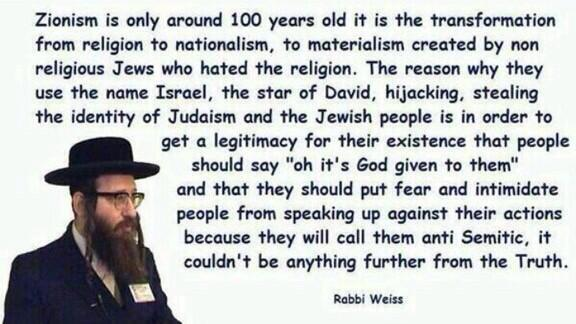 zionism quote from rabbi weiss