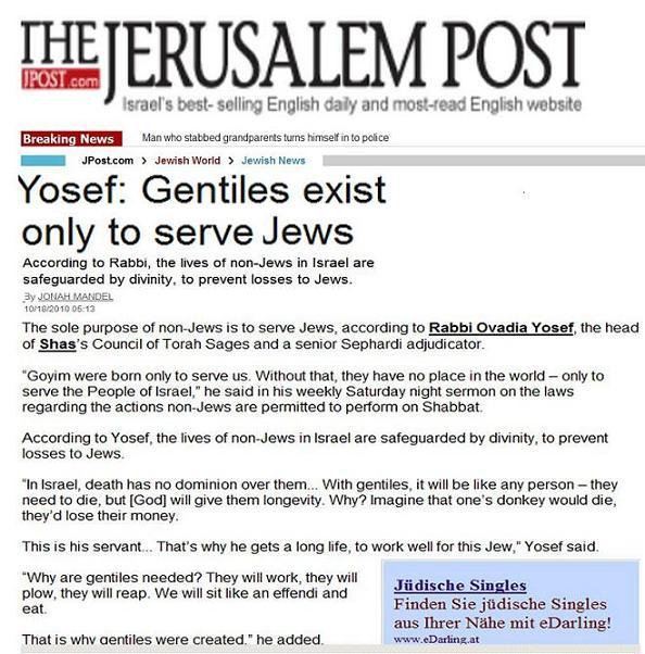 yosef gentiles exist to serve jews