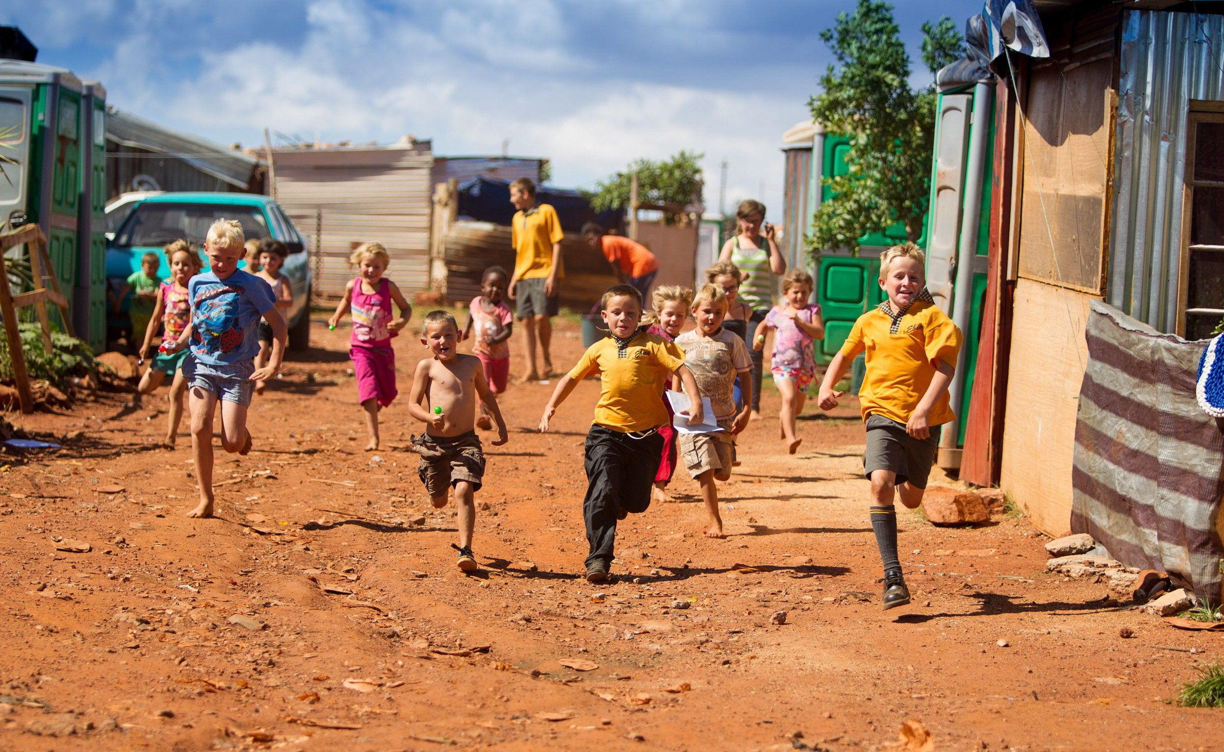 White Kids Playing in a White Squatter Camp in SA
